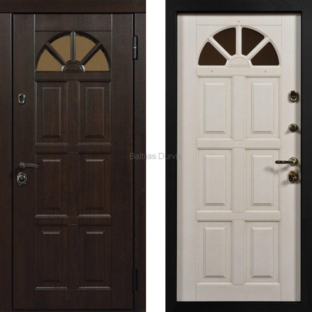 Металлическая дверь с МДФ Кармен тиковое дерево + белый патина кофе
