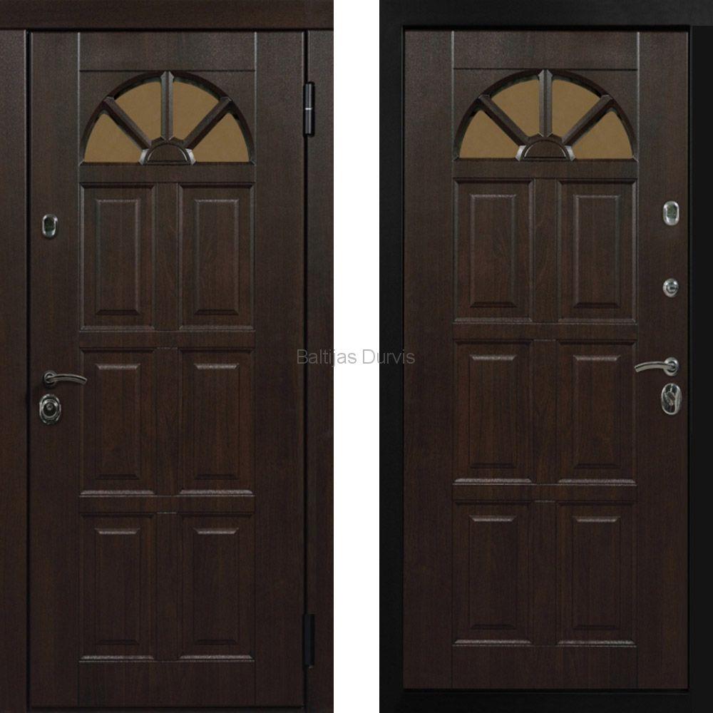 Металлическая дверь с МДФ Кармен тиковое дерево + тиковое дерево